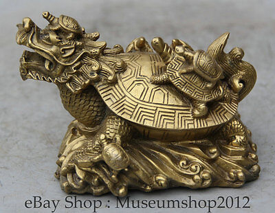 "6"" Chinese Folk Brass Dragon Turtle Tortoise longevity Animal Statue Sculpture"