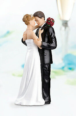Wedding Cake Topper Tender Moment Figurine Caucasian Bride and Groom him and her