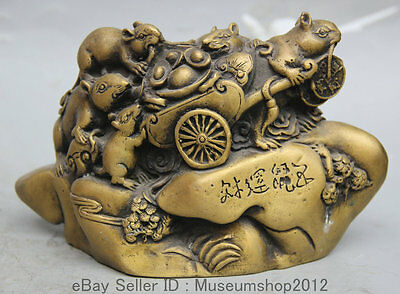 "7"" Chinese Fengshui Copper Zodiac Year Mouse Wealth Money brood Statue Sclpture"