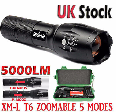 Military T6 LED Flashlight Rechargeable Tactical Torch Zoom 18650 AAA UK-01B