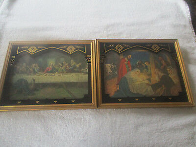 1938 Vintage JESUS Christian Scene Reverse Painted Glass Pictures by Deltex