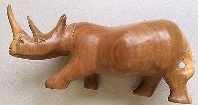"Vintage Hand Carved Made In Kenya~Wood Rhinoceros Sculpture Approx 8"" Long~ EUC"