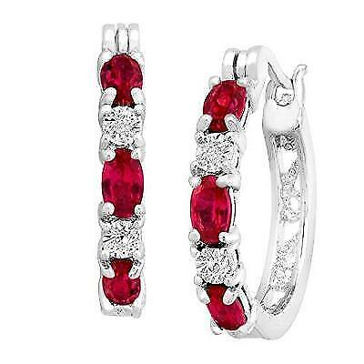 Finecraft 2 ct Created Ruby Hoop Earrings with Diamonds in Platinum-Plated