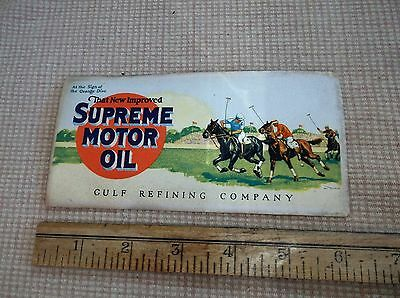 vintage/antique Gulf Refining Co, Supreme Moter Oil advertisement card