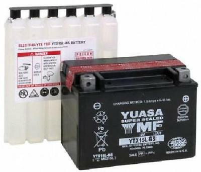 Yuasa YTX15L-BS Motorcycle Battery Includes filling kit