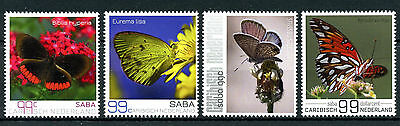 Dutch Caribbean 2017 MNH Butterflies of Saba 4v Set Flowers Insects Stamps