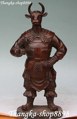 """13"""" Chinese Bronze Stand Ox Oxen Cow Bull Cattle Warrior Generals Figure Statue"""