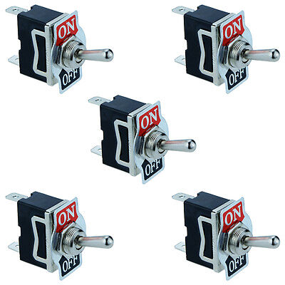 5 x On/Off Toggle Flick Switch 2-Pin 15A SPST