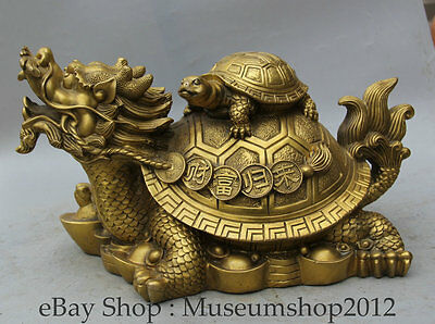 "16"" Chinese Brass Dragon Turtle Tortoise Money Wealth longevity Statue Sculpture"