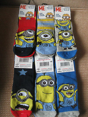 Children's Minion socks, Pack of 2, 3 designs,3 sizes 6-8.5, 9-12,12.5-3.5