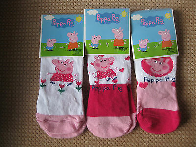 Girls Peppa pig socks, Pack of 3, Sizes 0-2, 3-5, 6-8