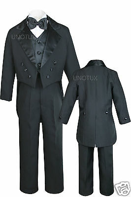 Baby,Toddler,Kid Boy Wedding Formal Black Vest Tail Tuxedo Suit Bowtie Suit S-18