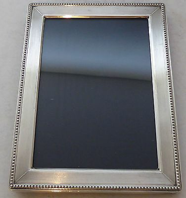 Solid Silver Picture Frame Wooden Back Holds Photograph 12 x 8.3 cm