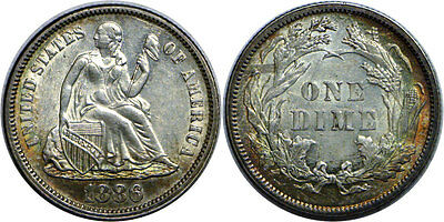 1886 10C Liberty Seated Dime Almost Uncirculated
