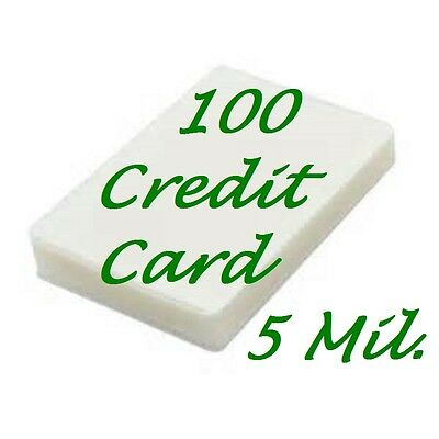 100- Credit Card Size Laminating Pouch Sheets 2-1/8 x 3-3/8 5 Mil.