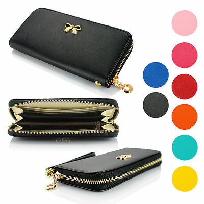 2017 New Lady Women Black Purse Leather Clutch Handbag Wallet Long Card Holder