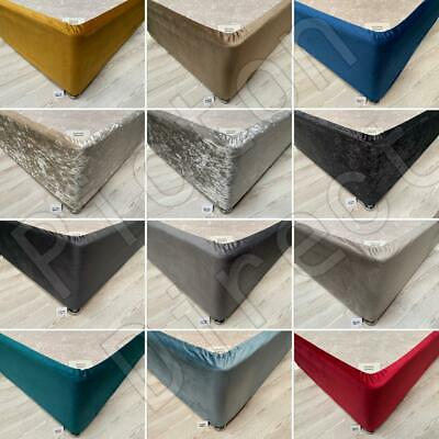 Elasticated Bed Valance Divan Base Cover Bed Wrap Crushed Velvet & Plush Velvet
