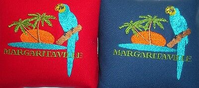 Embroidered Margaritaville Cornhole Bags - Set of 8 Quality Bags!  Red & Blue