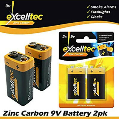 Pack of 3 9v Batteries - 6F22 MN1604 6LR61 PP3 - Zinc Carbon 9 Volt Battery