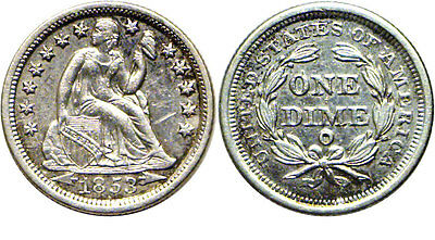 1853-O 10C Liberty Seated Dime Extra Fine Details