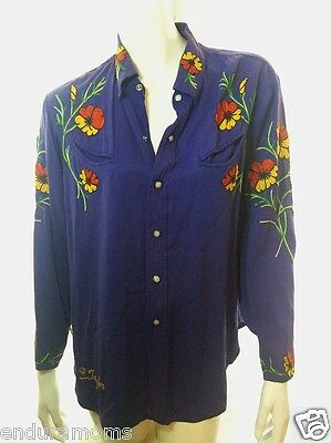 Embroidered Western Shirt Floral Purple Pearl Snap Rodeo Cowboy 1960s Hippie FS