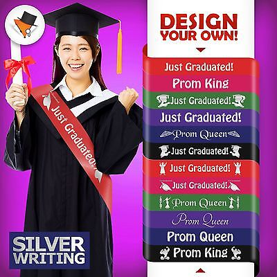 Graduation Personalised Sashes Sash With Silver Writing High Quality Fast Ship
