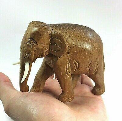 Hand Carved Wood Elephant Figure Sculpture Vintage Style Craft Home Decor New