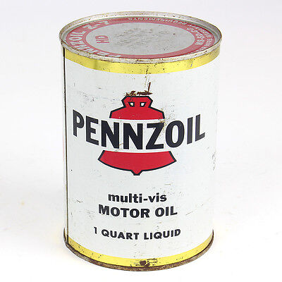 Vintage Rare White Pennzoil Motor Oil Can Metal