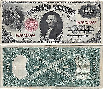 1917 $1 United States Note, Legal Tender, Saw Buck, FR-37, Very Fine