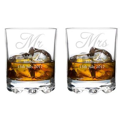 Personalised Wedding Bride and Groom Mr & Mrs Glass Tumbler Glasses - Boxed Gift