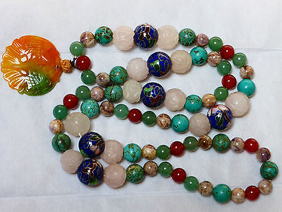 Chinese Vintage Natural Carved Quartz, Turquoise, Enamel Bead, Jade Necklace