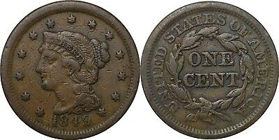 1849 1C Large Cent Braided Hair Very Fine