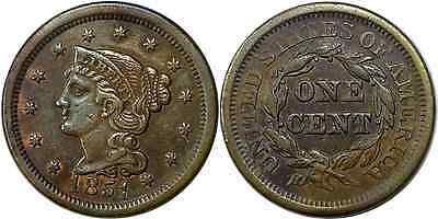 1851 1C Large Cent Braided Hair Very Fine Details