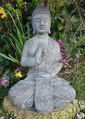 Buddha Garden Ornament Praying Buddha Oriental Hand Cast Stone Patio Statue