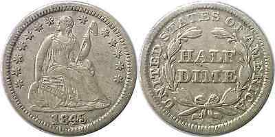1845 5C Liberty Seated Half Dime Extra Fine
