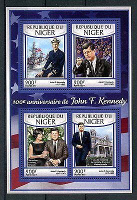 Niger 2017 MNH John F Kennedy JFK 100th Birthday 4v M/S US Presidents Stamps
