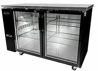 Heavy Duty Black Back Bar Cooler with Two Glass Doors 60''