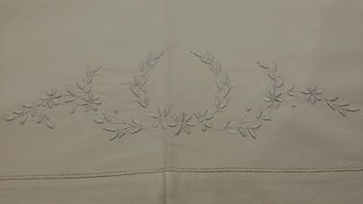 Antique Off White Cotton Sheet Raised French Embroidered Flowers 78 X 84