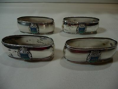 German 800 Sterling Silver Napkin Ring Set of 4 British Guiana - monogrammed