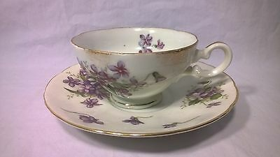 Spring Violets Teacup & Saucer, Rosetti & Lefton, hand painted made in Japan