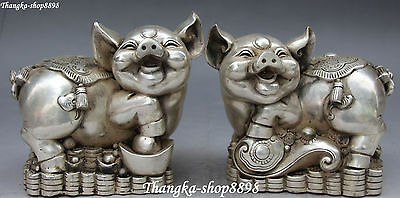 Chinese Silver Wealth Money Yuanbao Ruyi Zodiac Year Pig Pigs Animal Statue Pair