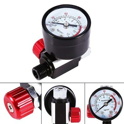 "1/4"" Spray Gun Air Regulator with Pressure Gauge Diaphragm Control Auto Paint MF"