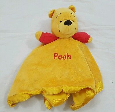 Disney Winnie The Pooh Dark Yellow Rattle Lovey Satin Baby Security Blanket EUC
