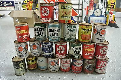23 Vintage Original Motor Oil & ATF Quart Cans Enarco Red Dot John Deere NR