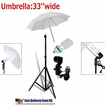 Studio Photography Lighting Kit 3 Point Lighting Umbrella Photo Bulb Lamp Stand