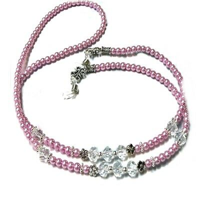 Pink pearl crystal - Reading eye glasses spectacle chain holder lanyard