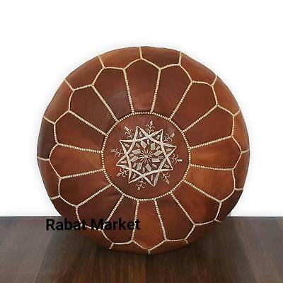 Authentic Moroccan Leather Pouf,Handcrafted Leather Pouffe ottoman,Footstool,P03