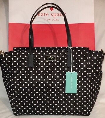 NWT Kate Spade Taden Baby Diaper Bag Black Diamond Dot Retails $329 MUST HAVE