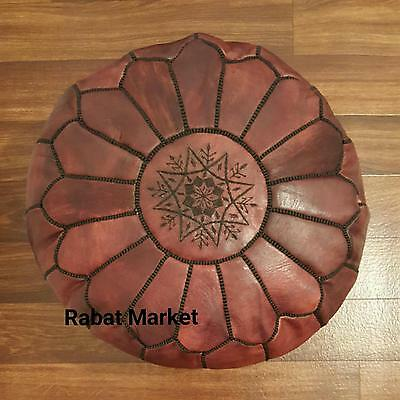 Authentic Moroccan Leather Pouf,Handcrafted Leather Pouffe ottoman,Footstool,P15