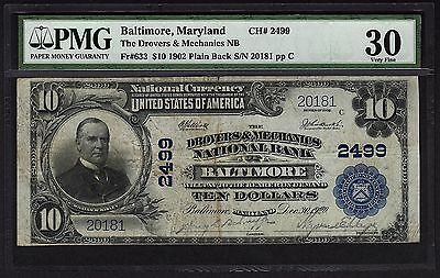 1902 $10 Baltimore MD National Currency Bank Note PMG 30 Fr.633 Charter CH#2499